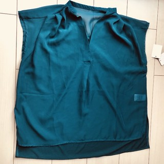 新品 ターコイズ LL カットソー シンプル   (カットソー(半袖/袖なし))