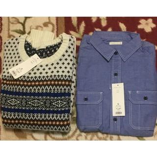 GU - 新品未使用 GU ジーユー セーター&シャツセットメンズS ブルー  ホワイト