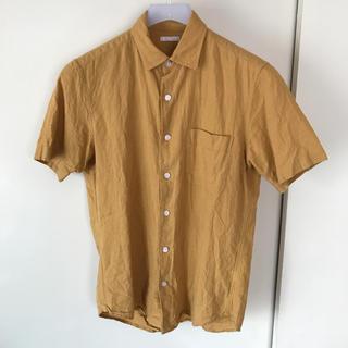 GU - 【送料無料】混麻リネンブレンドシャツ半袖 マスタードイエロー S