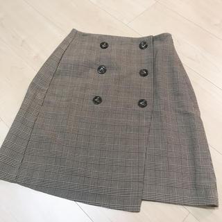 GU - GU グレンチェック ラップ台形スカート