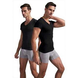 インナーシャツ やわらか肌着 綿100% 柔ら Vネック半袖 Tシャツ 2枚(その他)