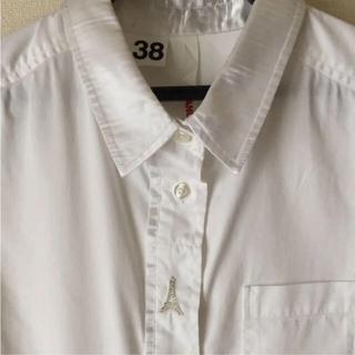 アンドエー(And A)の白シャツ AND A 38 エッフェル塔 異素材 お値下げ(シャツ/ブラウス(長袖/七分))