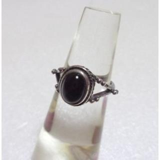 173 オニキス石ピンキーリング4号 アンティーク調 レトロ エスニック(リング(指輪))