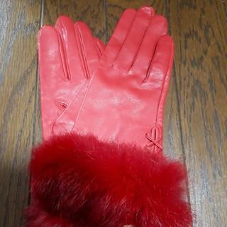 ファー付き羊革手袋