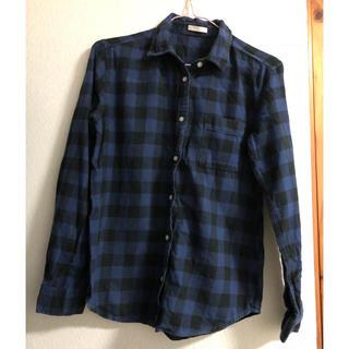 ジーユー(GU)のGU チェックシャツ 青 S(シャツ/ブラウス(長袖/七分))