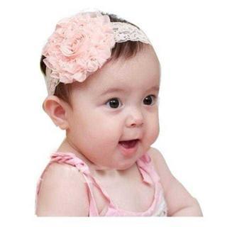 MA012 送料無料♪大きいお花ヘアバンド♪ベビーカチューム ピンク(ヘアゴム/シュシュ)