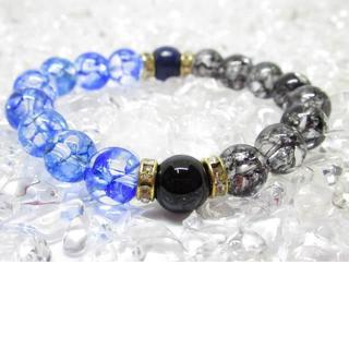 ★【オニキス×ブルークラック水晶】天然石ブレスレットパワーストーン(ブレスレット)