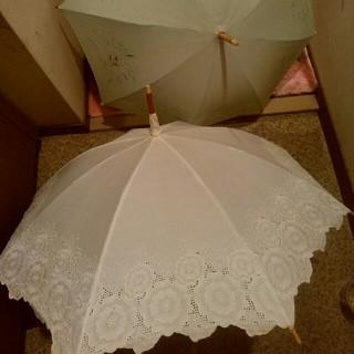 日傘 白 グリーン 日本製 2点セット(傘)