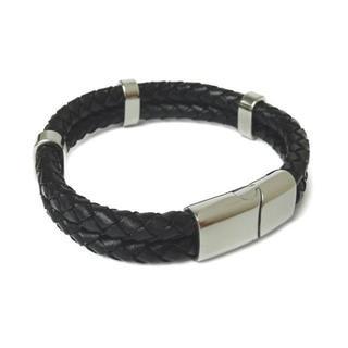 Ranipobo ブレスレット メンズ ブラック レザー(ブレスレット)