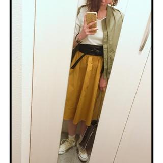 ジーユー(GU)のGU Aラインスカート イエロー(ひざ丈スカート)
