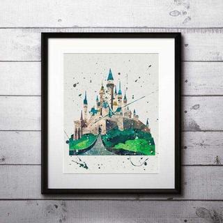 Disney - 眠れる森の美女の城(ディズニーランド)アートポスター【額縁つき・送料無料!】