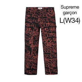 シュプリーム(Supreme)の34 コムデギャルソン supreme パンツ 黒(ペインターパンツ)