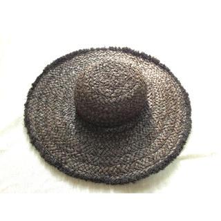 麦わら帽子 ダークブラウン 美品 ビーチ 麦藁帽子(麦わら帽子/ストローハット)