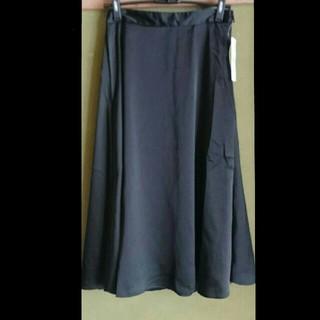 ジーユー(GU)の新品未使用 フレアスカート ブラック(ひざ丈スカート)