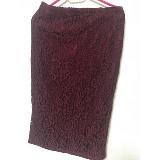 ジーユー(GU)のGU 新品未使用 レースタイトスカート Mサイズ(ひざ丈スカート)
