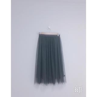 ジーユー(GU)のブラックチュールスカート(ひざ丈スカート)