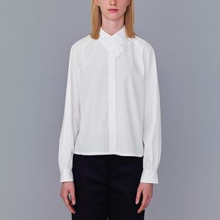 ジーユー(GU)の【新品】GU Kim Jones コラボ デザインネックシャツ ホワイト S(シャツ/ブラウス(長袖/七分))