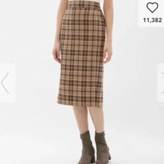 ジーユー(GU)のGU タータンチェックナローミディスカート(ひざ丈スカート)