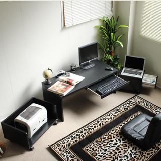 デスク3点セットスライドテーブル 90cm幅 デスク+ラック+チェスト(オフィス/パソコンデスク)