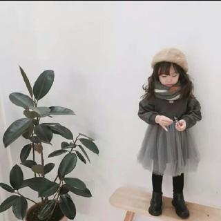 キッズ女の子暖かワンピース★裏起毛☆チュールワンピ(ワンピース)