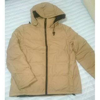 ジーユー(GU)の GU レディースMサイズ 中綿フード付き ジャケットベージュ(ダウンジャケット)