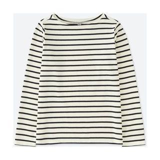 ユニクロ(UNIQLO)の《完売》ユニクロ ボーダーボートネックTシャツ 長袖 ホワイト ブラック M(Tシャツ(長袖/七分))