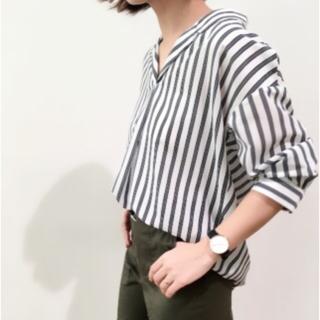 ジーユー(GU)のGU  ストライプオープンカラーシャツ 七分袖 高見え(シャツ/ブラウス(長袖/七分))