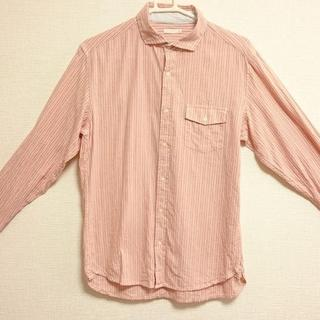 ジーユー(GU)のGU メンズ ストライプシャツ ピンク M(シャツ)