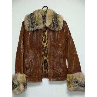 ドルチェアンドガッバーナ(DOLCE&GABBANA)のドルチェアンドガッバーナD&Gラムスキンシープ羊皮革襟袖ファーレザーライダース(毛皮/ファーコート)
