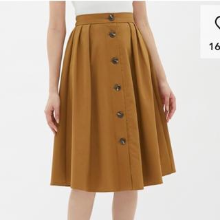 ジーユー(GU)のGU☆フロントボタンフレアスカート☆未使用!(ひざ丈スカート)