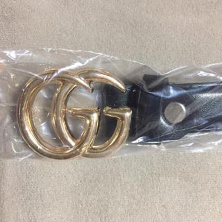 黒 アルファベット ロゴ ベルト 2.3cm幅 85cm ハイウエスト ゴールド(ベルト)