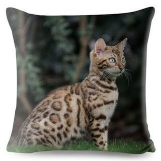 猫クッションカバー ベンガルキャット♪ 43cm×43cm 新品未使用品♪(クッションカバー)