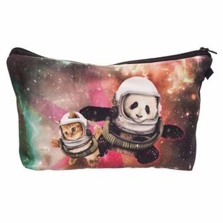 猫ポーチ 仲良し猫とパンダの宇宙旅行♪ ねことパンダ♪ 新品未使用品 送料無料(猫)