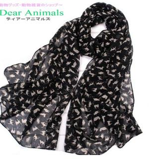 猫スカーフ 猫ショール ネコ柄シフォンスカーフ「ブラック♪」新品未使用品(猫)