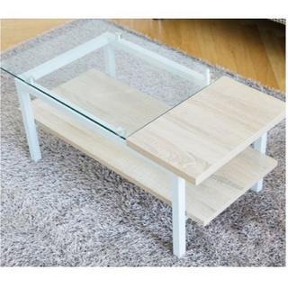 ガラス×優しい木材のお洒落★ガラスセンターテーブル オーク(ローテーブル)