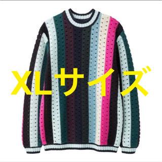 ジーユー(GU)の新品タグ付き KIM JONES GU マルチストライプセーター NVY XL(ニット/セーター)