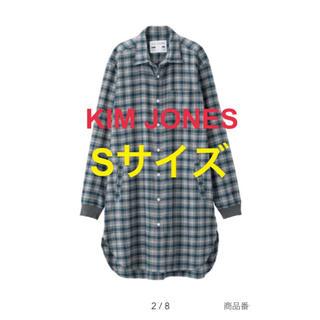 ジーユー(GU)の新品タグ付き フランネルチェックロングシャツ KIM JONES GU GRN(シャツ)