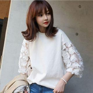 春夏 可愛い 花柄 刺繍 カットソー 7分丈 ホワイト トップス(Tシャツ(長袖/七分))