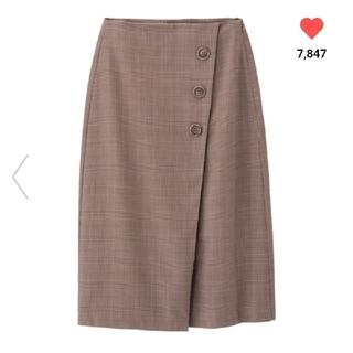 ジーユー(GU)のGU 今季 ラップミディスカート ブラウン Mサイズ 未使用品(ひざ丈スカート)