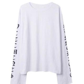 トレンド ストリート系 ロングスリーブ 白 L ロンT スウェット(Tシャツ(長袖/七分))