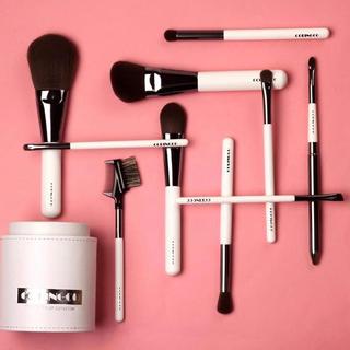 10本 ホワイト筒ケース付き COC メイクブラシ 化粧筆 タクロン フルメイク(その他)