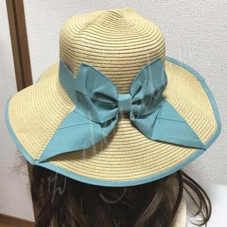 麦わら帽子 リボン ハット レディース つば広 UV対策 ストローハット(麦わら帽子/ストローハット)