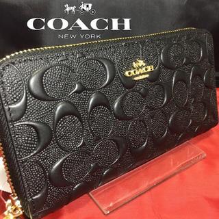コーチ(COACH)の夏新作❣️新品コーチ長財布 本革エンボスドシグネチャー ブラック×ゴールドメタル(財布)