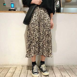 ワイルドで可愛い♪ヒョウ柄ロングスカート 軽やかフレア カジュアルコーデ(ロングスカート)