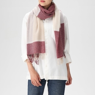 MUJI (無印良品) - 2018✨無印良品✨カシミヤ✨100%✨織り柄ストール✨4