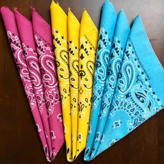 ハバハンク米国製バンダナ☆ペイズリー3色セット☆フューシャ、レモン、ライトブルー(バンダナ/スカーフ)