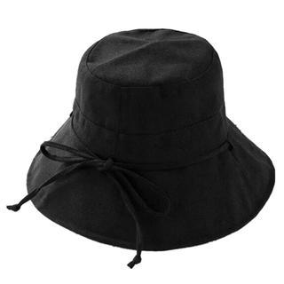 52.帽子 レディース 紫外線100%カット ハット 小顔効果抜群 ブラック 黒(ハット)