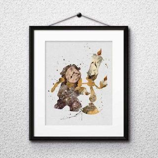 ディズニー(Disney)のルミエール&コグスワース(美女と野獣)アートポスター【額縁つき・送料無料!】(ポスター)