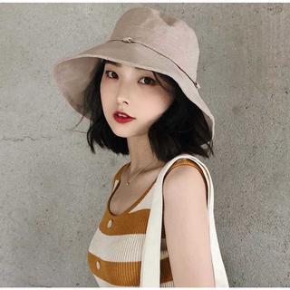 【新品】夏 uvカット 折りたたみ 帽子 リボン付き おしゃれ つば広(ハット)