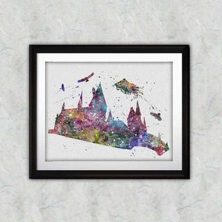 ディズニー(Disney)の日本未発売!ホグワーツ(ハリーポッター)アートポスター【額縁つき・送料無料!】(ポスター)